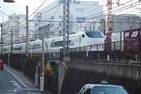 Haruka passing freight at Kyoto