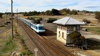 Southbound XPT enters Yass_001