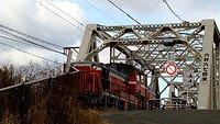DD51 pulling freight over Yodogawa Bridge