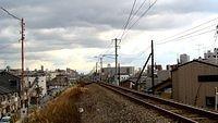 Freight line from Yodogawa Bridge into East Osaka