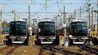 Takatsuki, looking at 3 sets of 321 Series towards Kyoto