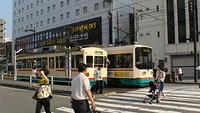 Toyama trams outside Toyama Station