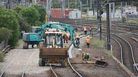 Trackwork at derailment site