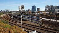 Trains passing derailment trackwork