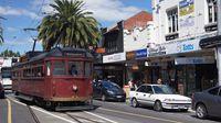 Restaurant Tram departing Acland St