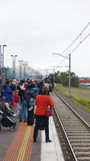 Steamrail arriving at Berwick