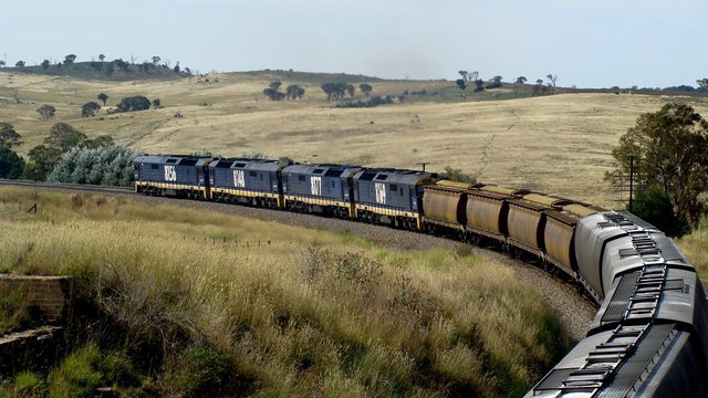 Grain passing under the Old Hume Hwy